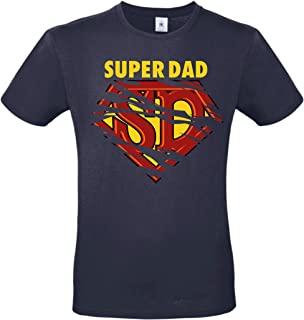 Camiseta de hombre Super Dad (estilo Superman) blanca – negra – azul – azul – Regalo para el día del padre o cumpleaños