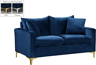 Meridian Furniture Naomi Collection Modern | Contemporary Navy Velvet Upholstered Loveseat with Stainless Steel Base in a Rich Gold or Chrome Finish,