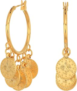 SHASHI Coin Hoop Earrings