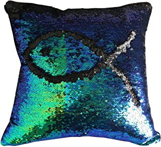 SNUG STAR Two-Color Decorative Pillow Case Square Paillette Throw Mermaid Sequins Cushion Covers 16 X 16 for Home Decor Party/Sofa/Bed(Mermaid and Black)