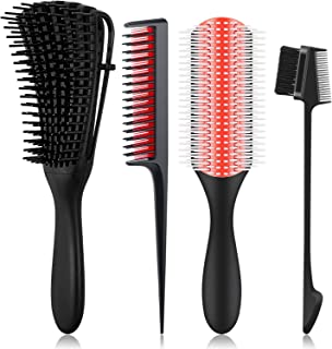 4 Pieces Detangling Hair Brush Detangler 9-Row Cushion Nylon Bristle Edge Brush Triple Teasing Comb with Rat Tail, for 3a to 4c Hair Textured Kinky Wavy/Curly/Wet/Oil/Matted/Thick/Coily Hair