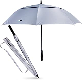 UVDAY Silver UV Protection Long Large Travel Golf Sun Umbrella UPF50+ with Wearable Shoulder Sleeve
