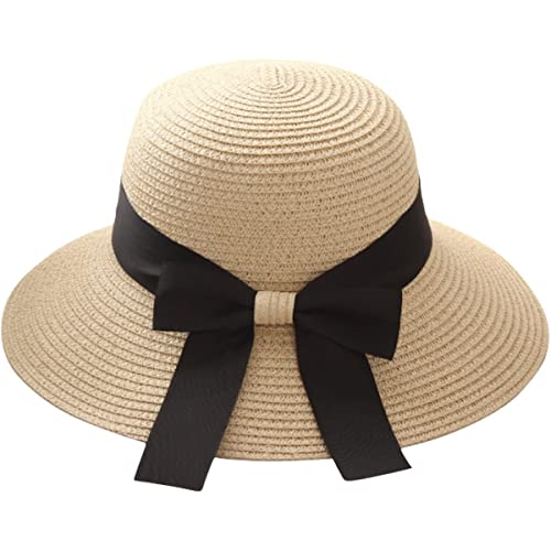 ae9aa6bdeb2 Lanzom Women Wide Brim Straw Panama Roll up Hat Fedora Beach Sun Hat UPF50+  (X