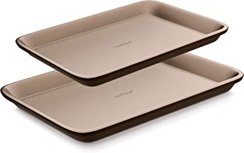 NutriChef 2-Pc. Nonstick Cookie Sheet Pan-Professional Quality Kitchen Cooking Non-Stick Bake Trays with Black Coating Inside & Outside