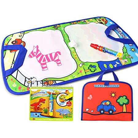 Water Drawing Learning Painting Doodle Boards with Magic Pen for Kids 31.4in x 23.6in Magic Water Drawing Mat//Water Drawing Painting Mat with 4 Color