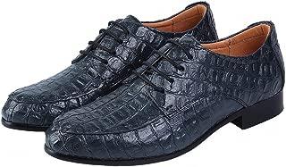 JIYE Men's The British Leather Crocodile Grain Casual Oxfords Shoes