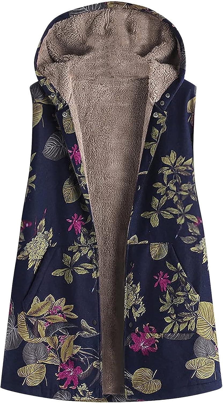 Women Casual Printed Hooded Sleeveless Top Plush Jacket Vest Raincoat