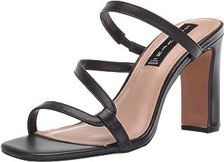 STEVEN by Steve Madden Women's Jerri Heeled Sandal, Black Leather, 8.5 M US