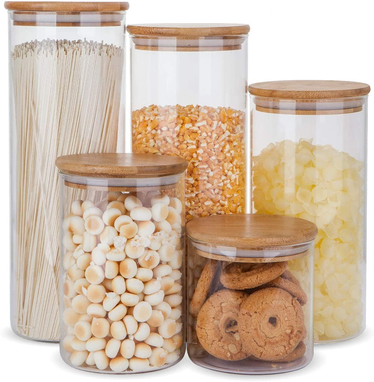 Glass Food Storage Containers Set,Airtight Food Jars with Bamboo Wooden  Lids   Set of 9 Kitchen Canisters For Sugar,Candy, Cookie, Rice and Spice  Jars