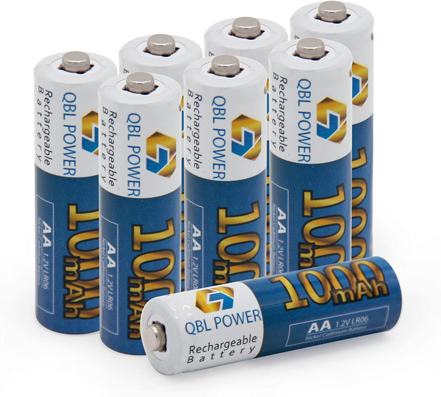 QBLPOWER AA NiCD 1000mAh 1.2V Rechargeable Batteries for Solar Lights, Garden Lights, Remotes, Mice (8 PCS)