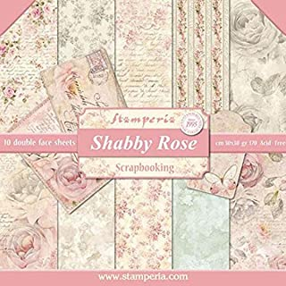 "Stamperia Bloc 10 feuilles 30.5x30.5/mm1 (12"" x 12"") - imprimés double faces Shabby Rose multicolore SBBL12"