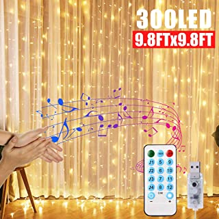 Window Curtain String Lights, 300 LED String Light USB Powered, 4 Music Control Modes 8 Lighting Modes Waterproof Lights for Wedding Party Garden Bedroom Christmas Festival Decorative (9.8x9.8 Ft)