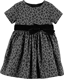 Carter's Cheetah Sateen Holiday Dress for Baby Girl Size Newborn Black
