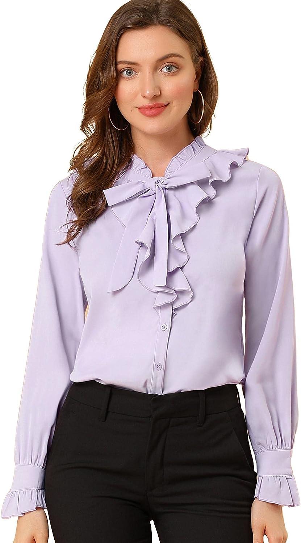 Allegra K Women's Ruffle Neck Tie Neck Ruffle Cuff Button Front Solid Work Shirt