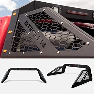 Stehlen 733469495291 Universal Adjustable Truck Bed Chase Rack Roll Bar with 3rd Third Brake Light & 2x LED Work Lamps Bars & 6x Amber Side Marker - Matte Black