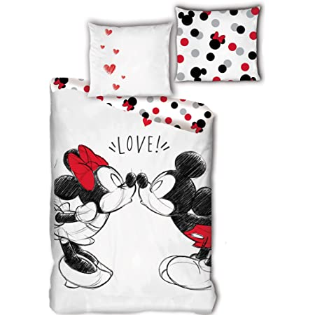 Mickey et Minnie Bisous Love - Parure de Lit Double - Housse de Couette 220 x 240 cm Coton
