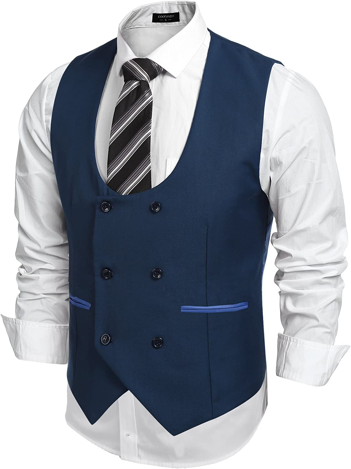 COOFANDY Mens Slim Fit Sleeveless Suit Vest Double Breasted Business Dress Waistcoat
