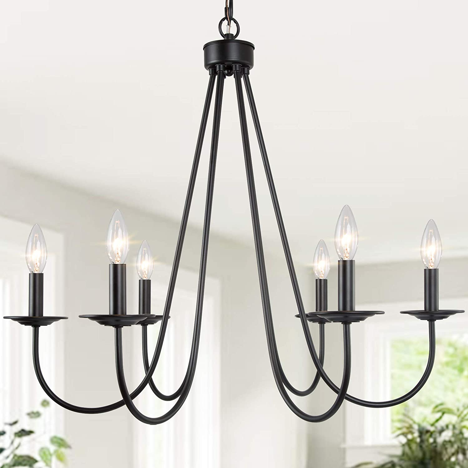 LALUZ Black Chandelier NEW before Sale selling ☆ 6-Light for Farmhouse Dining