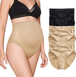 BRABIC Women's Seamless Maternity Panties High Waisted Pregnancy Underwear Belly Support Briefs Over Bump 3 Pack