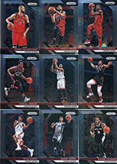 2018-19 Panini Prizm Basketball Toronto Raptors Team Set (Veterans) 9 Cards: Kyle Lowry(#33), Danny Green(#43), Kawhi Leonard(#53), OG Anunoby(#63), Serge Ibaka(#73), Pascal Siakam(#83), Jonas Valanciunas(#93), Fred VanVleet(#103), Delon Wright(#113)