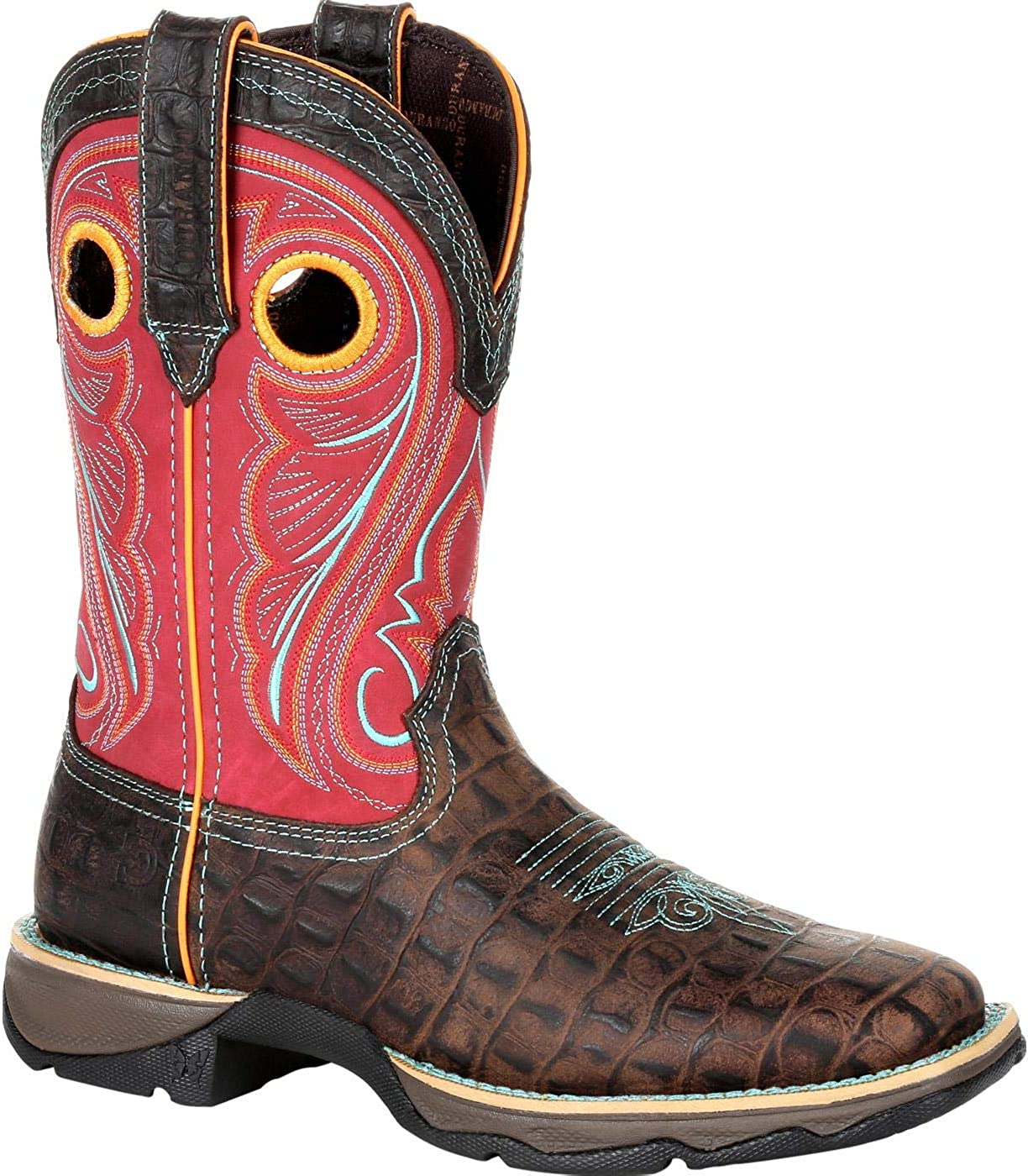 Durango Women's Lady Rebel Faux Gator Western Boot Square Toe