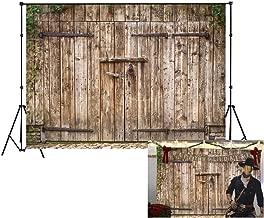 LB Rustic Barn Door Backdrop Vintage Wooden Door Photo Backdrop 9X6ft Vinyl Western Cowboy Retro Background for Newborn Baby Shower Kids Birthday Party Portrait Photo Booth Backdrop