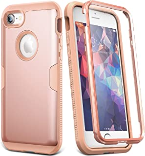 YOUMAKER Case for iPhone 8 & iPhone 7, Full Body Rugged with Built-in Screen Protector Heavy Duty Protection Slim Fit Shockproof Cover for Apple iPhone 8 (2017) 4.7 Inch - Rose Gold/Pink