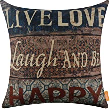 LINKWELL 18x18 Vintage Wood Slat Live Love Laugh and to be Happy Burlap Throw Pillow Case Cushion Cover (CC1229)