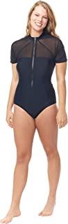 Mesh Front Zipper Short Sleeve One Piece Women's Swimsuit