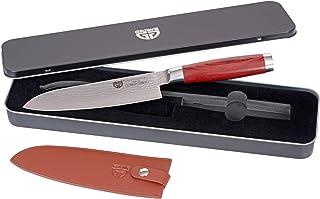 GRAEWE Couteau Santoku, 17,5 cm Lame Damas avec VG 10, Manche en Bois Dur