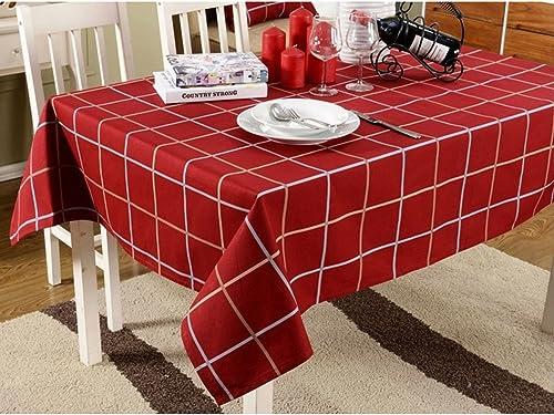diseño único Mantel Europeo Clásico Algodón Algodón Algodón Ropa De Mesa Café Cuadros Mantel Estilo Británico Menaje Universal Paño Mantel,rojo-120X120  mejor moda