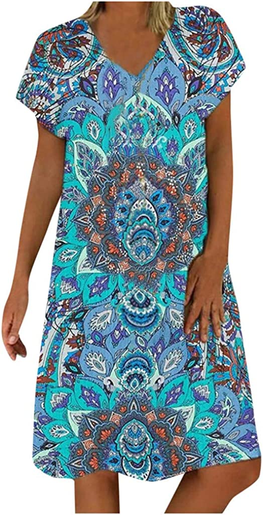 Women's Beach Dress Casual Print Plus Size Swing Shift Short Sleeve Mididress V Neck Summer Dress