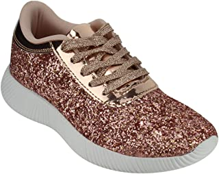 FOREVER FP13 Women's Sparkling Glitter Lace up Fashion Street Sneakers