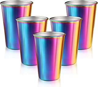 Rainbow Stainless Steel Cups, Spnavy 5 Pack 16 Oz Stackable Metal Drinking Glasses Unbreakable Pint Cup Tumblers for Party Pubs Bars Travel Outdoor Camping Everyday Use