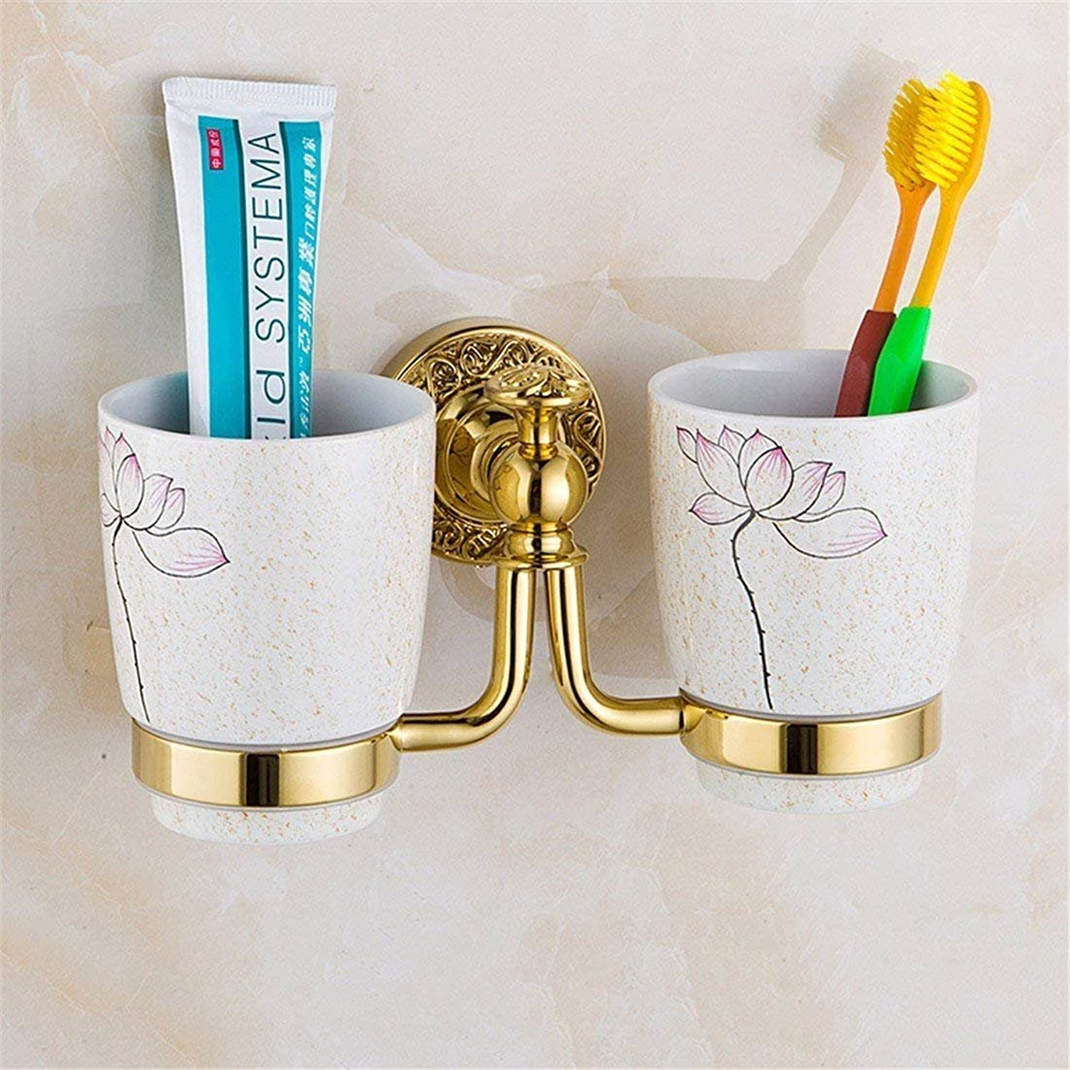 European Copper gold Carved Accessories of Bathroom is Committed to Using a Toilet Brush,Dual Rack Cup