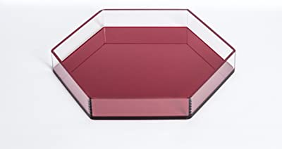 AREA Hexagonal Acrylic Tray Acrylic Decorative Tray (Red)