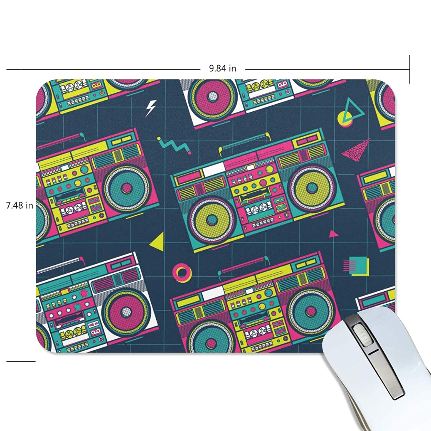 My Daily Retro Pop Boombox Radio 80S Mouse Pad 9.84 x 7.48 x 0.2 inch, Non-Slip Rubber Base Pad for Gaming & Office