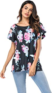 HUHHRRY Women's Floral Print Short Sleeve V Neck Chic Ruched Twist Front Tops Loose Casual Blouse Shirts S-XXL
