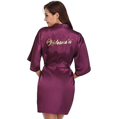 91629cde5f Vlazom Bride Bridesmaid Robes Satin Bridal Party Robe Dressing Gwons