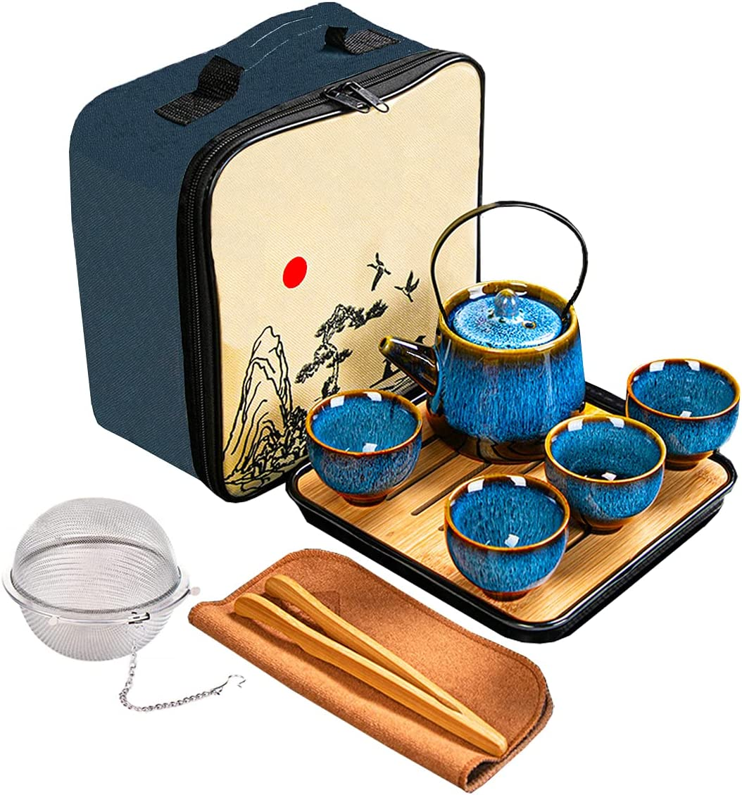 Chinese/Japanese Tea Set, Tea Sets for Women/Adults,Gongfu/Porcelain Tea Set,Tea tray and Filter Included,Suitable for Picnic and tTravel