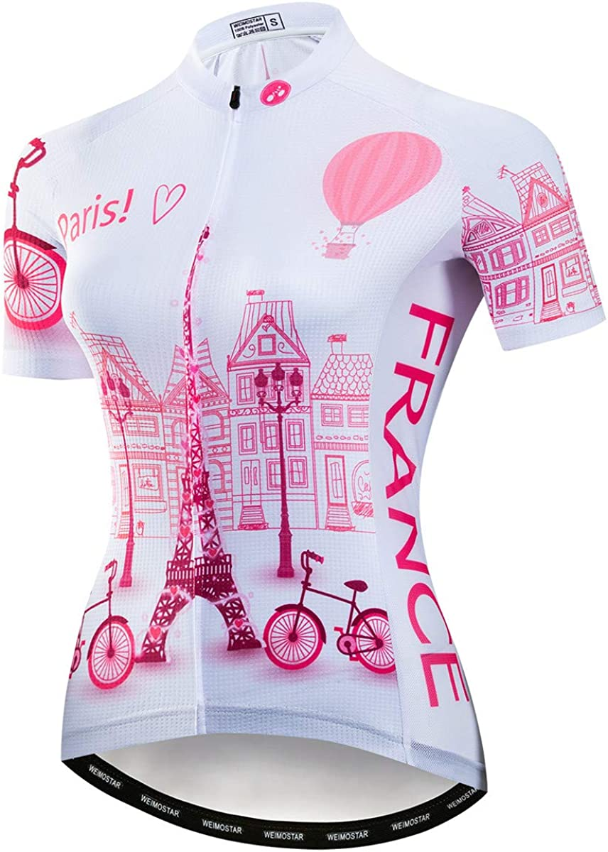 Women Cycling Jerseys Summer Fashion Bike Shirts Breathable Short Sleeve Bicycle Clothes Uniforms Quick Dry