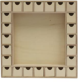 13 Inch Christmas Advent Calendar Shadow Box w/Free Project Idea Booklet - Pre Assembled with Removable Drawers - Unfinish...