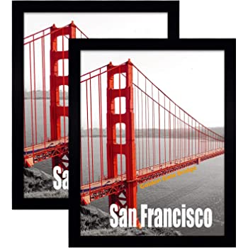 Frametory, Set of 2, 11X14 Pre-Assembled Black Poster Frame - Golden Gate Bridge Gallery Edition