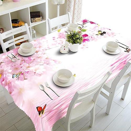 HUANZI Tischdecke 3D Rosa Blaumen Schmetterling Druck Staubdicht aufgeschüttet, Rectangular Width 178cmx Long 274cm