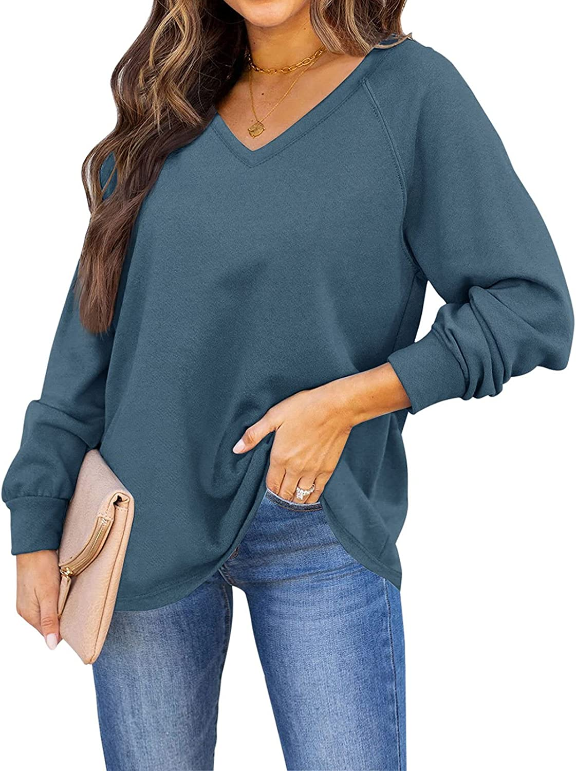 ADREAMLY Women Casual V Neck Sweatshirts Long Sleeve Oversized Pullover Tops Solid Tunic Shirts