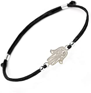 SOLOMIYA Protection Evil Eye Bracelet - Lucky Hamsa Hand Charm - Adjustable Sterling Silver Jewelry - Best Kabbalah Red String Bracelets for Women and Men