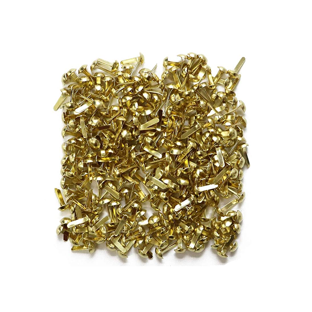 LGEGE 200 Pcs Gold Tone Color Mini Metal Round Brads Craft DIY Paper Fasteners Scrapbooking Decoration Embellishment