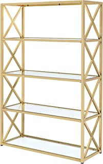 ACME Milavera Bookshelf - - Gold & Clear Glass