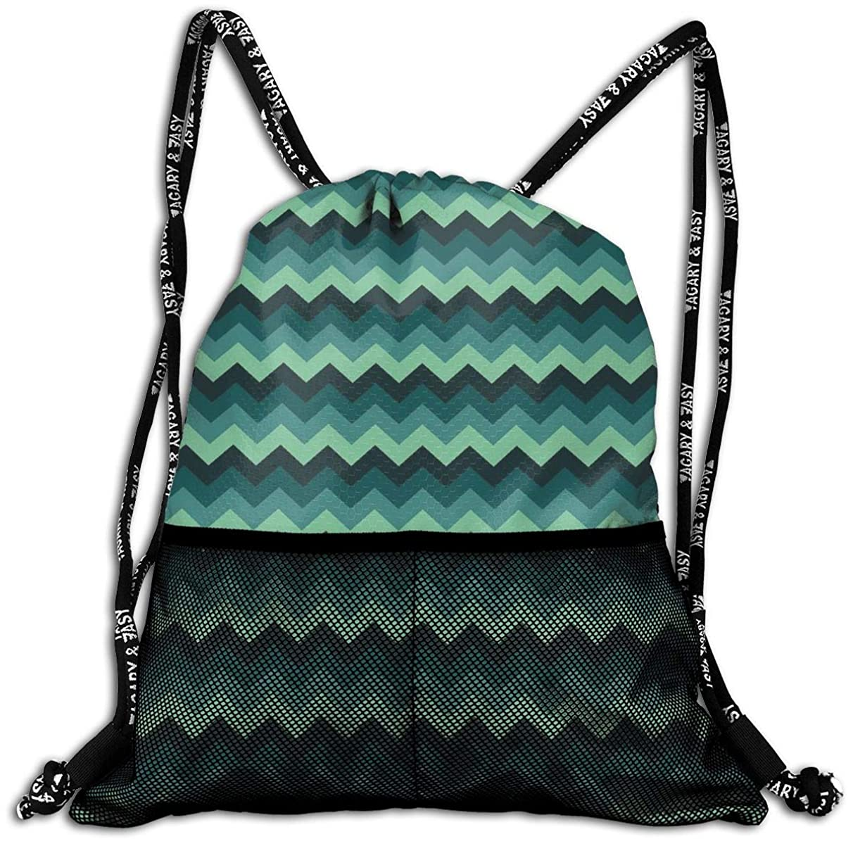 Drawstring Backpacks Bags,Expressionist Chevron Style Pattern Geometric Vibrant Colored Modern Artful,5 Liter Capacity,Adjustable