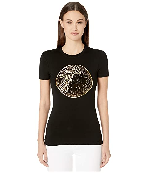 Versace Collection Medusa Gold Embellished Fitted T-Shirt